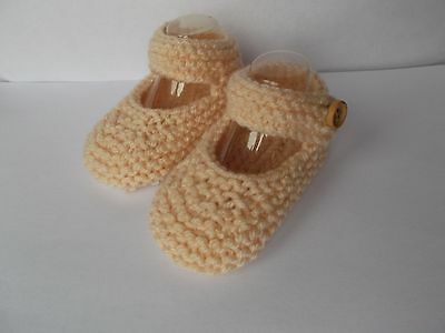 New Hand Knitted Baby Mary Jane Shoes/Booties 0-3 Months Light Beige