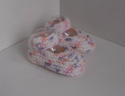 New Hand Knitted Baby Mary Jane Shoes/Booties 0-3 Months White/Multi