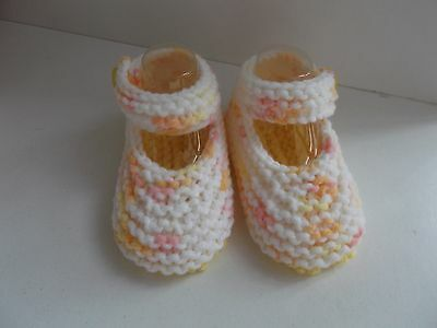 New Hand Knitted Baby Mary Jane Shoes/Booties 0-3 Months Yellow and white Multi