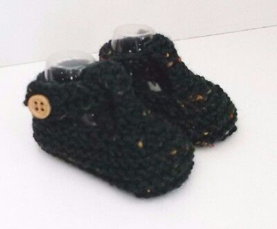 New Hand Knitted Baby T-Bar Shoes/Booties 0-3 Months Dark Green Speckle