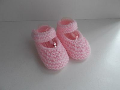 New Hand Knitted Baby Mary Jane Shoes/Booties 0-3 Months Pink