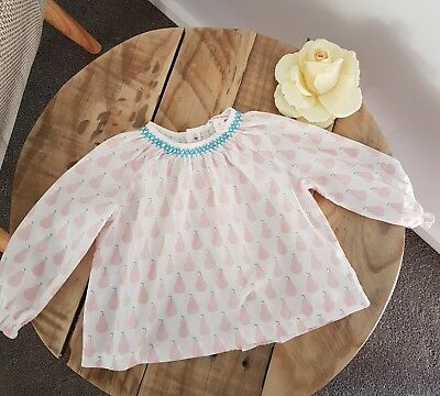 Baby Girl COUNTRY ROAD Pear Print Long Sleeve Blouse Swing Top Size 0 6-12M