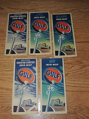 1940's Lot of Gas & Oil Road Maps GULF Arizona Oklahoma Ohio Eastern Western US