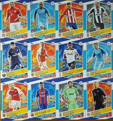 New Topps MATCH ATTAX 16 / 17  UEFA CHAMPIONS LEAGUE  Base Card Lot of 75