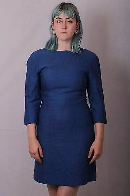 Vintage 60's Blue Wool Shift Dress Size 8 To Small 10 Mod Scooter Handmade