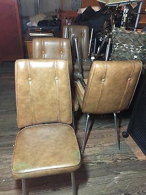 Vintage Retro Vinyl Chrome Kitchen Chair Brown Table