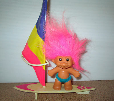 Vintage Russ Troll Doll Wind Surfer with Orignal Board And Sail