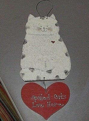 Hand Crafted Hp Spoiled Cats Live Here Country Wood Sign Crackle Kitty Love Vgc