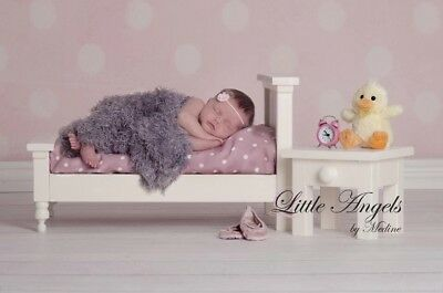 Bed, Nightstand, Mattress Photography Props, Newborn Baby Wooden Bed