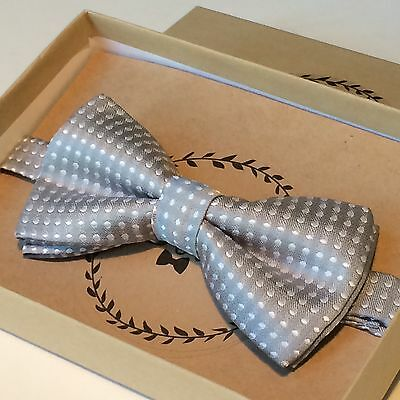 Boys New Bow Tie Gray Polkadot Baby Toddler Wedding Ring Bearer USA