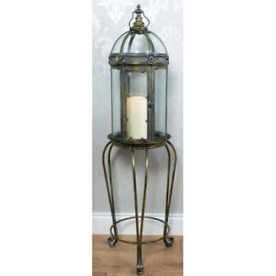Large Grand Tara Giftworks Lantern Antique Vintage Inspired Rustic Bronze Stand