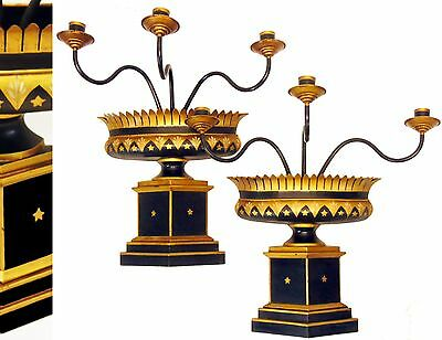 Pair Vintage French Tole Hollywood Regency Empire Candelabra Wall Sconces Lamps