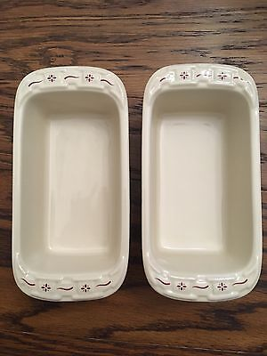 Longaberger mini loaf pans, set of 2, new without box, cream with red design