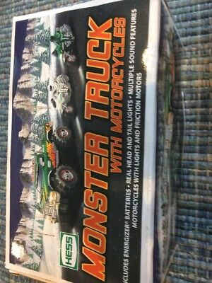 Hess 2007 Monster Truck With 2 Motorcycles  In The Box As Is