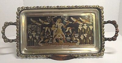 Vintage Etched Egyptian Rectangle Serving Tray Hieroglyphic Symbol & Writing