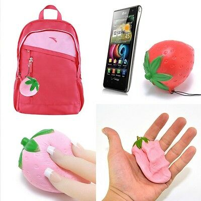 1x Strawberry Squishy Candy Scented Slow Rising Charm Key Bag Phone Straps 8*7cm