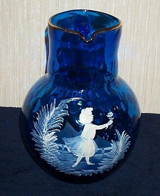 Antique Blue Coin Dot Mary Gregory Large Pitcher White Enamel Girl With Flower