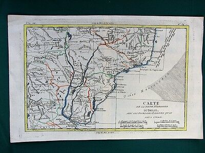 Southern BRAZIL w Paraguay River antique French map ca. 1800
