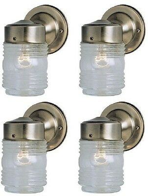 (4) Westinghouse 66839 Antique Brass Single Lamp Jelly Jar Wall Light Fixtures