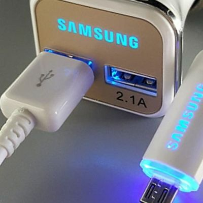 ORIGINAL LED USB Cable Fast Car Charger for Samsung Galaxy S6 S7 edge+ Note 5 4