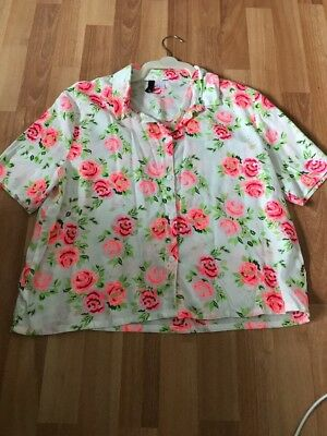 H&M Ladies Pink White & Green Bright Short Sleeved Shirt Blouse Top 14