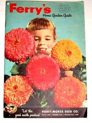 VINTAGE 1950s FERRY MORSE FLOWERS & VEGETABLES SEED CATALOG for HOME GARDENS