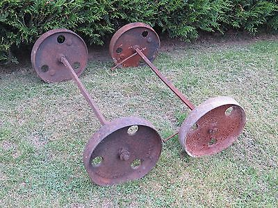 Cast Iron Wheel x 4, 12 inch in diameter with 30 inch axles.