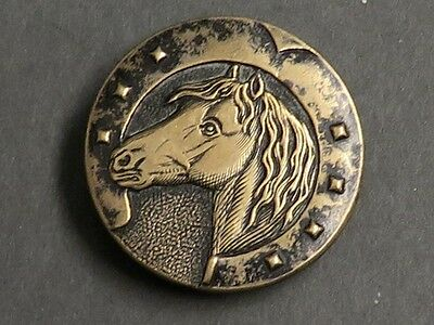 "LG 1 3/8"" Antique Paris Back Button - Horse & Horseshoe - Luck"