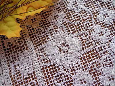 Antique Italian Handmade Knotted Lace - Floral Motif - Doily Placemat - Sardinia