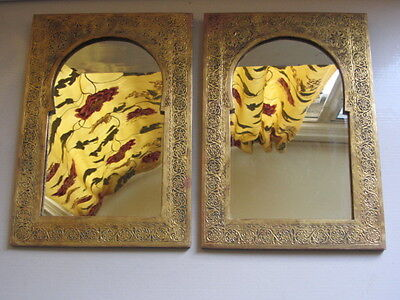 Vintage Middle Eastern Brass Chased Mirror Pair