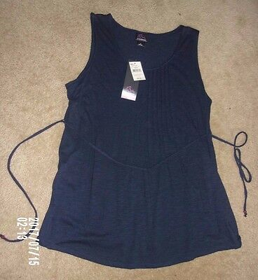 Oh Baby by Motherhood Maternity Navy Blue/ pleated Tank Top size Large NWT