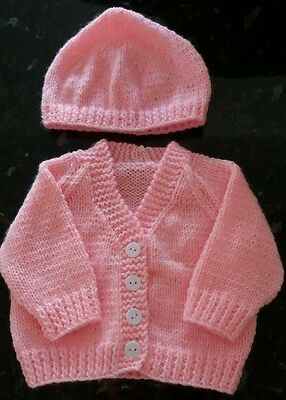 Hand Knitted Pink up to 3 months Baby Cardigan and Hat 17in Chest