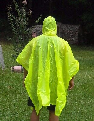 Lot of 3 Adult Unisex Yellow Rain Poncho Fishing Camping Outdoors Covering New