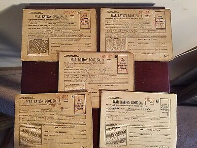 Lot of 5 Vintage WW2 War Ration, 5 Family Members in Belleville, NJ