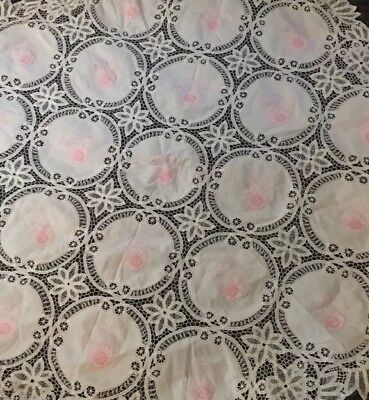 "Handmade Antique Embroidered Round Table Cloth 67"" Pink Floral/ White"
