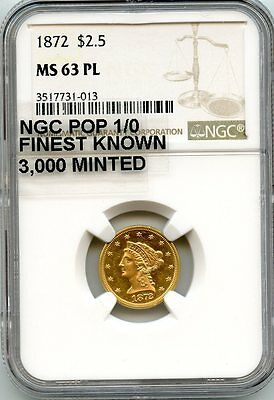 C8974- 1872 Gold $2.5 Liberty Ngc Ms63 Pl - Ngc Pop 1/0 - Finest Known!