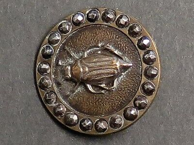Antique Victorian Metal Button - Silvered Beetle & Cut Steel Border