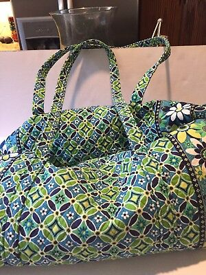 Vera Bradley Duffle Bag Large Overnight Carry On Green Blues Floral