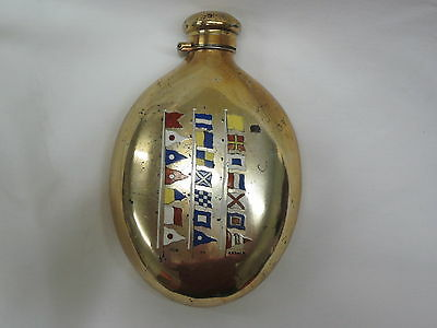 Antique Sterling Silver Oval Flask with Nautical flags RARE