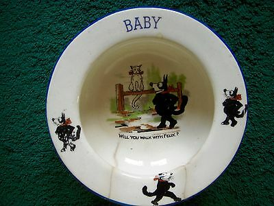 Vintage Early 1900 Felix The Cat Baby Bowl  Pat Sullivan, made in Czechoslovakia