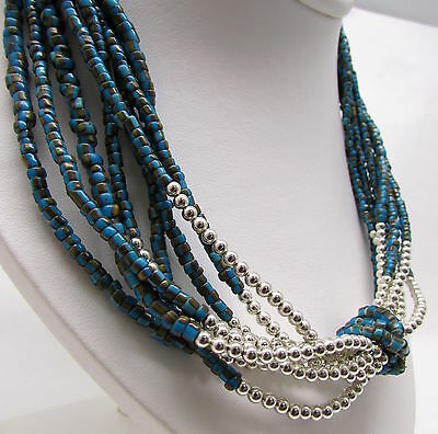 Old 8 Strand African Trade Bead Necklace Green Black Red Combination AWESOME!