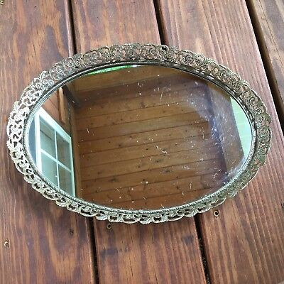 Vtg. Oval Mirrored Vanity Tray W/ Brass Tone Floral Filigree Border