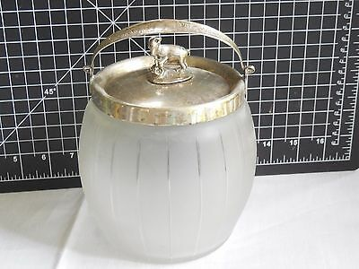 Late Victorian Biscuit Barrel Jar Frosted & Cut Glass & Mtn Goat Finial