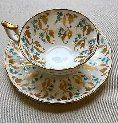 Royal Chelsea Wide Mouth Cup and Saucer Turquoise Gold...Gorgeous!