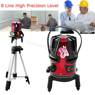 8 line Rotary Laser Beam Self Leveling Interior Exterior Laser Level Tripod +Box