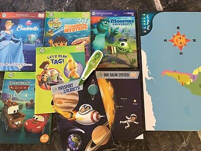 Leap Frog Tag Reading Pen & Books & Game Boards - Planets & World Map