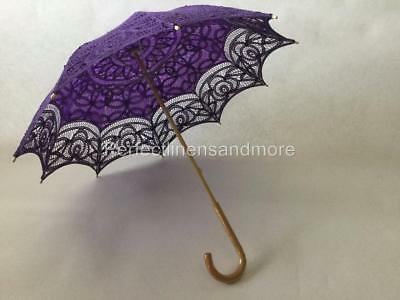 Purple Battenburg Lace Parasol with curved Handle