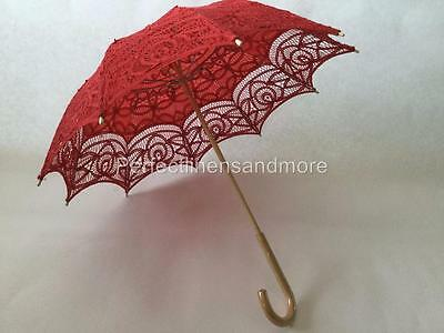 Red Battenburg Lace Parasol with curved Handle
