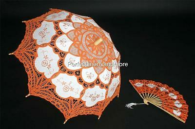 Orange Handmade Battenburg Lace Parasol and Lace fan set