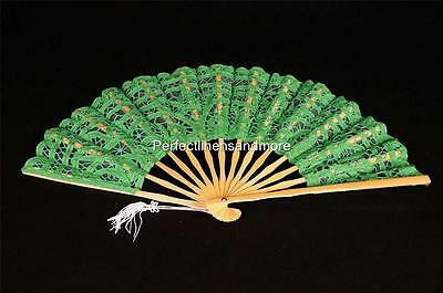 Light Green Battenburg Lace Hand Fan